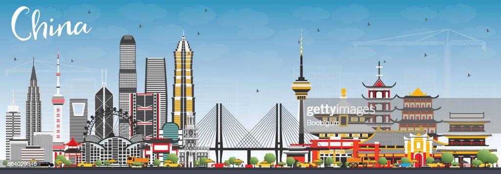 China City Skyline. Famous Landmarks in China.