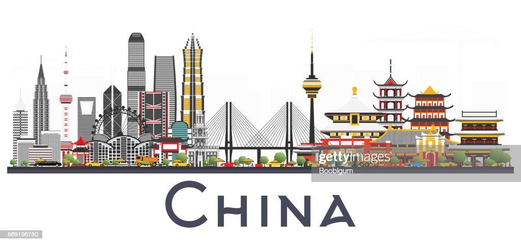 China City Skyline Isolated on White Background.
