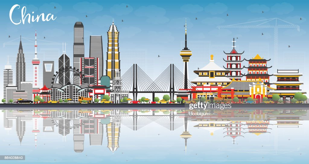 China City Skyline with Reflections. Famous Landmarks in China.