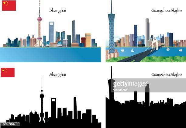 china citys - guangzhou stock illustrations