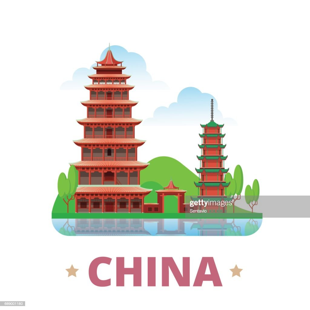China country fridge magnet whimsical design template. Flat cartoon style historic sight showplace web site vector illustration. World vacation travel sightseeing Asia Asian collection. Mogao Caves.
