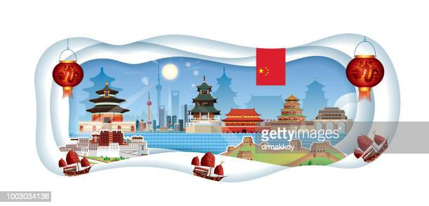 china cut paper - pagoda stock illustrations, clip art, cartoons, & icons