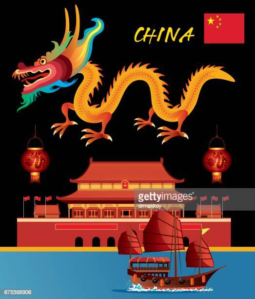 china dragon - wuhan stock illustrations