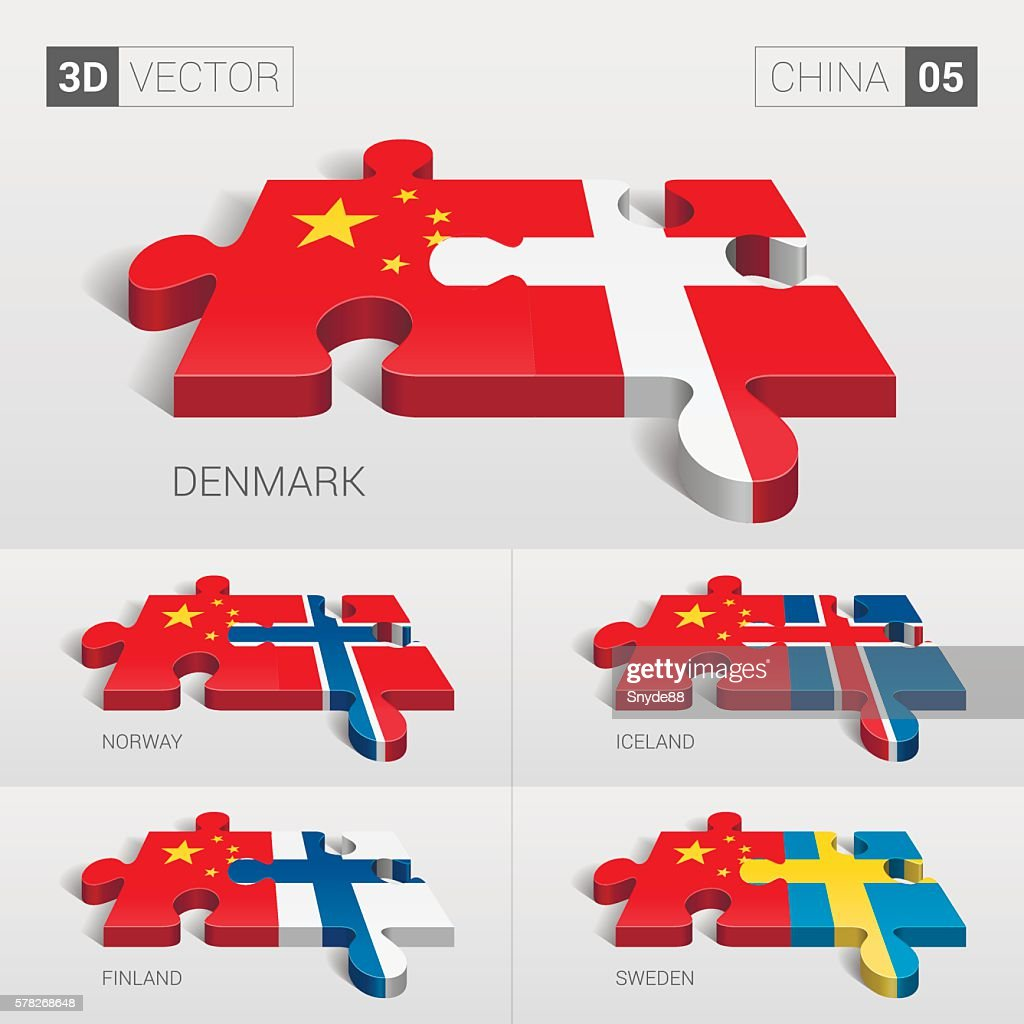 China Flag. 3d vector puzzle. Set 05.