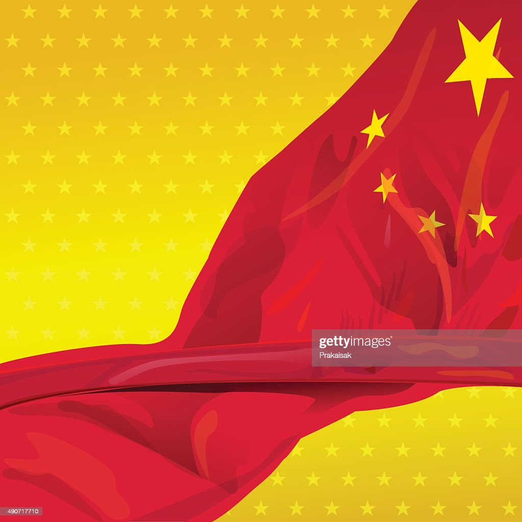 China flag in the wind of win gold sky