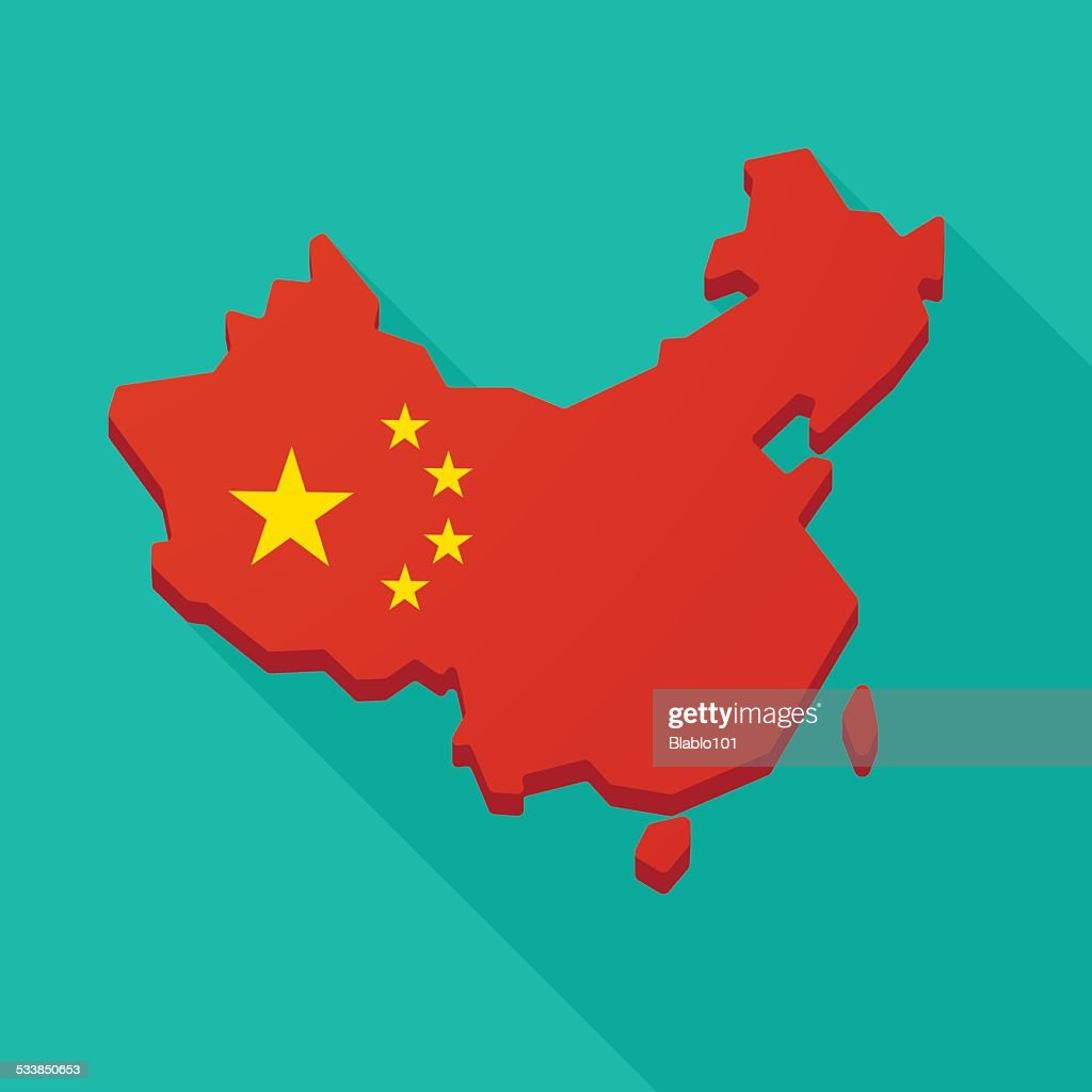 China flag map long shadow icon