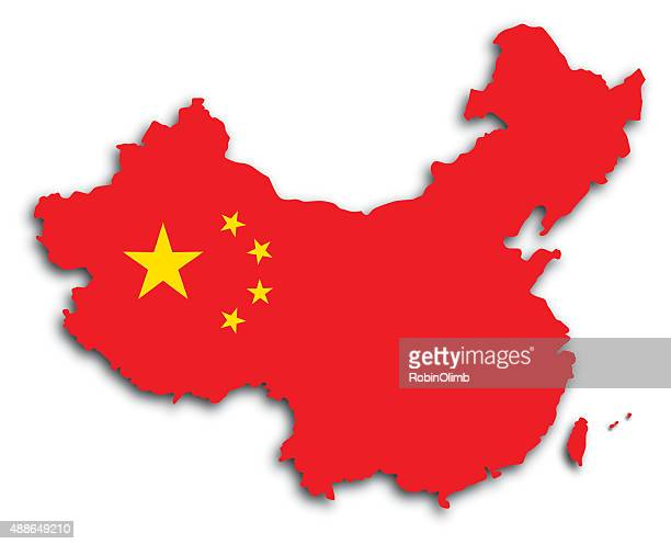 china-flagge, karte - china stock-grafiken, -clipart, -cartoons und -symbole