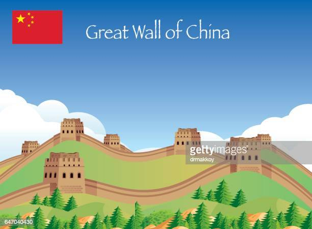 ilustraciones, imágenes clip art, dibujos animados e iconos de stock de china gread wall - granmurallachina