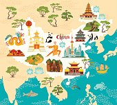 China illustrated map, hand drawn vector illustration