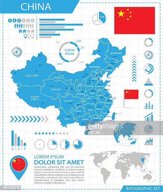 china - infographic map - illustration - macao stock illustrations