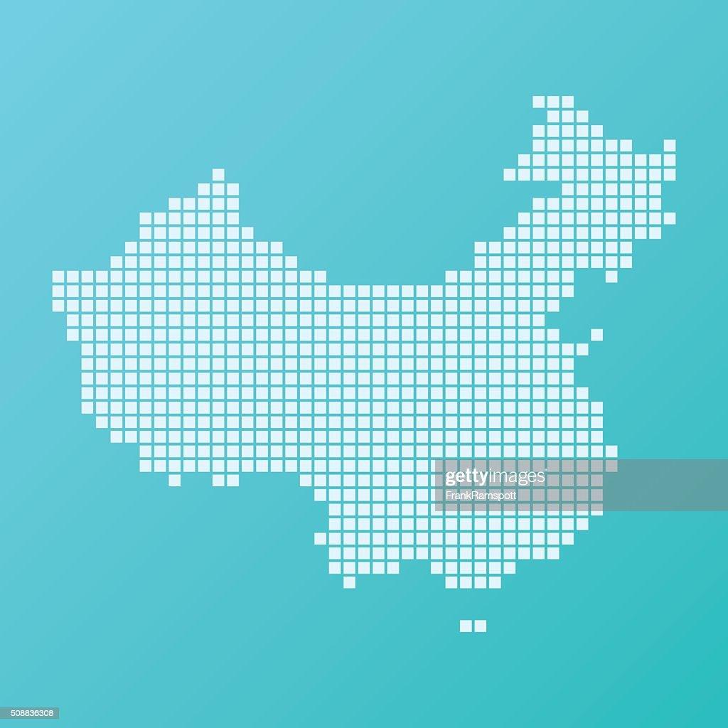 China Map Basic Square Pattern Turquoise