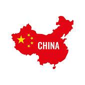 China map. China flag. Vector illustration.