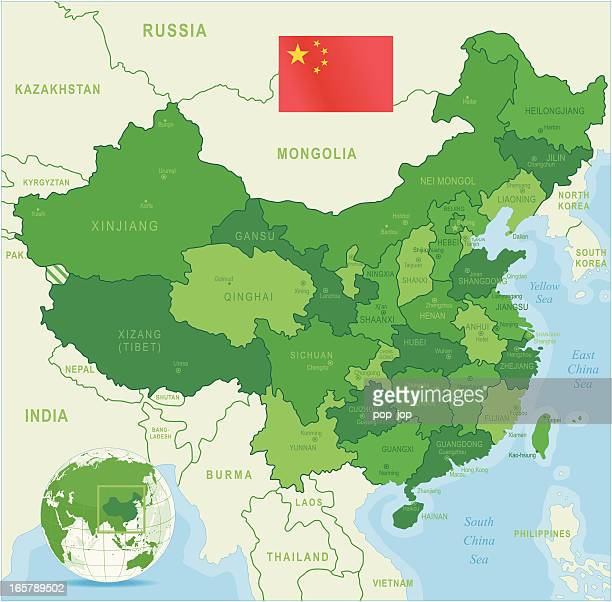china map green highly detailed - liaoning province stock illustrations
