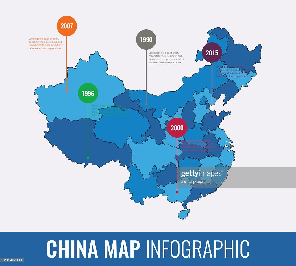 China map infographic template. All regions are selectable. Vector