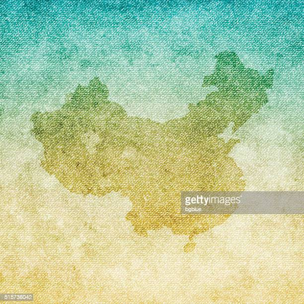 China Map on grunge Canvas Background