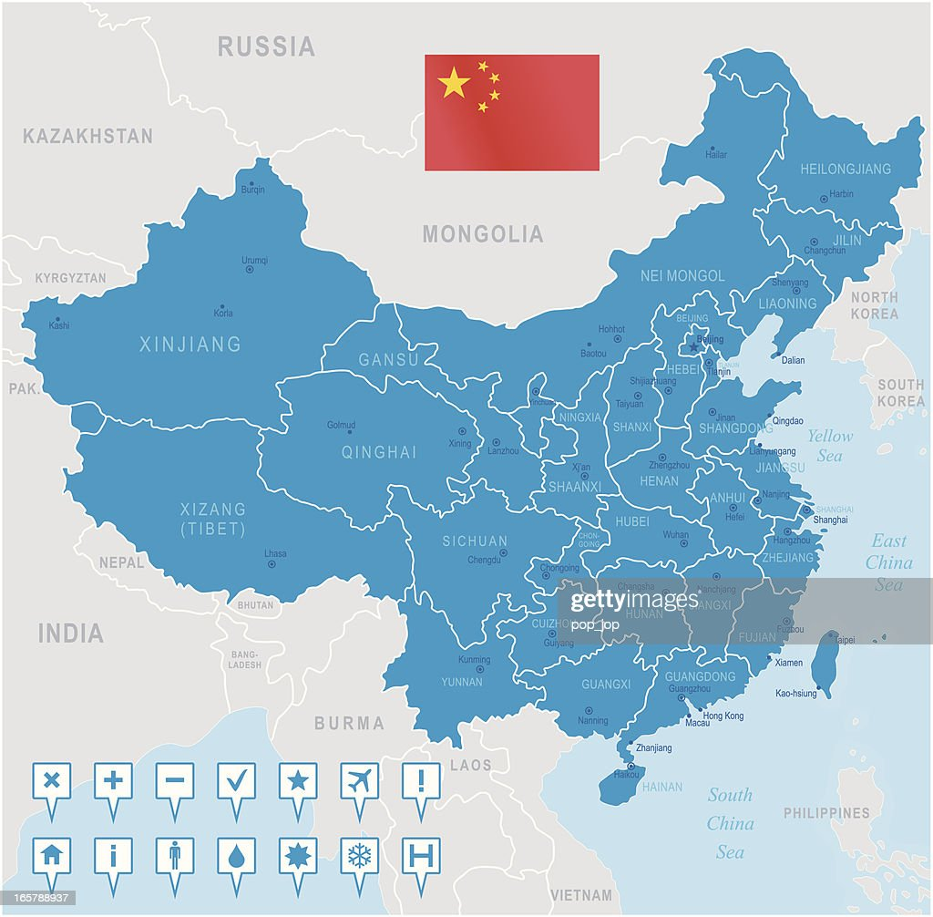 Regions Of China Map.China Map Regions Cities And Navigation Icons Vector Art Getty Images