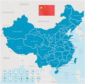 China map - regions, cities and navigation icons
