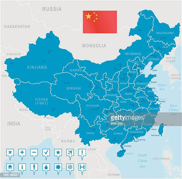 stockillustraties, clipart, cartoons en iconen met china map - regions, cities and navigation icons - china oost azië