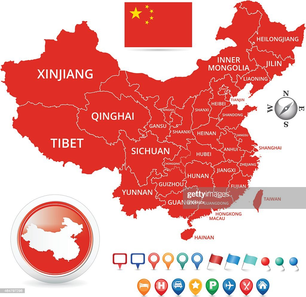 China Map with Flag