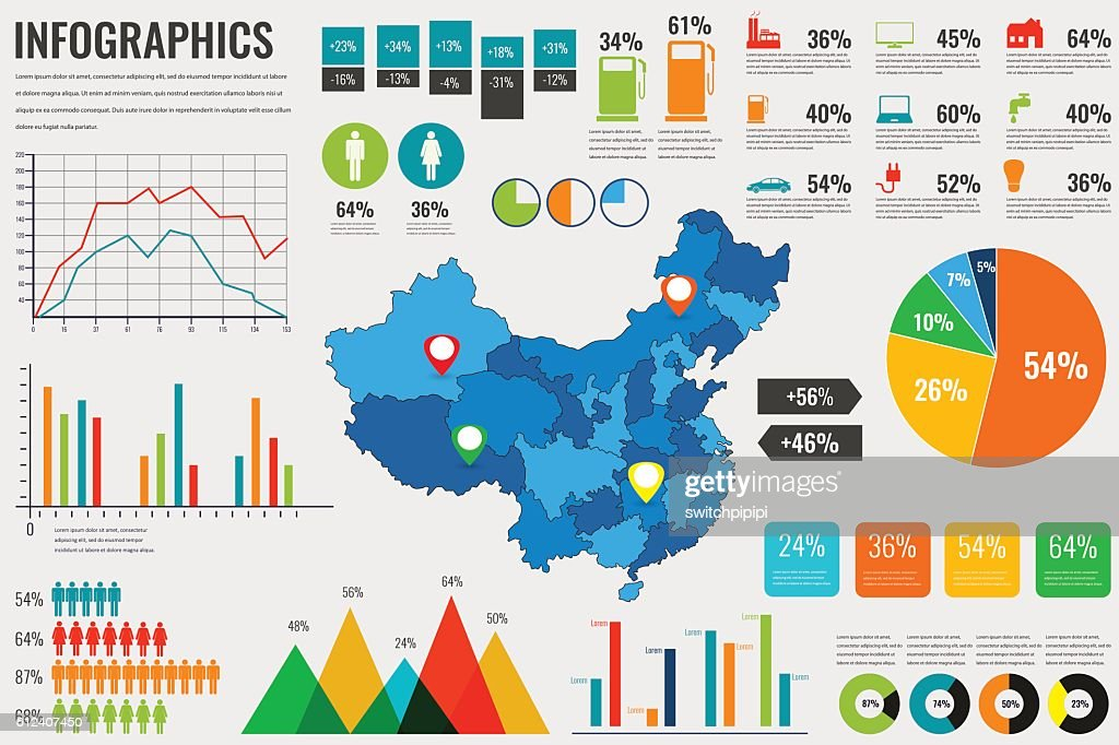 China map with Infographics elements. Infographics layouts. Vector