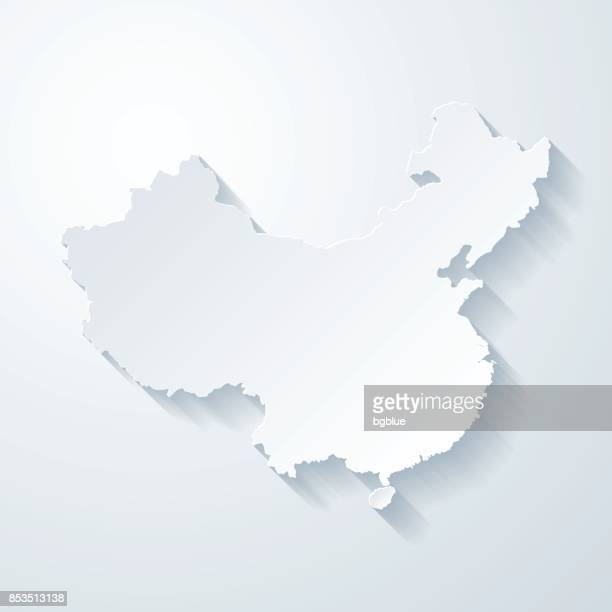 China map with paper cut effect on blank background