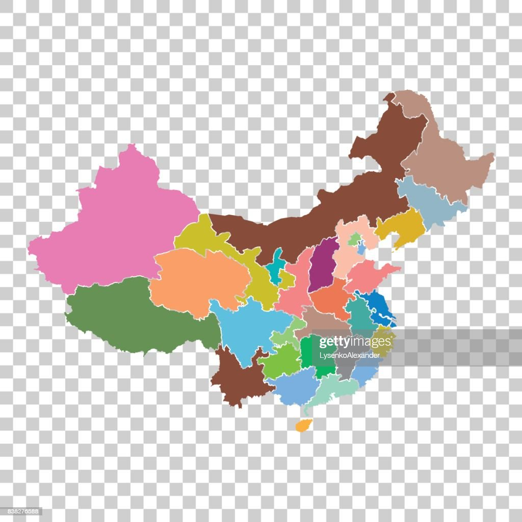 China map with province region. Flat vector illustration on isolated background