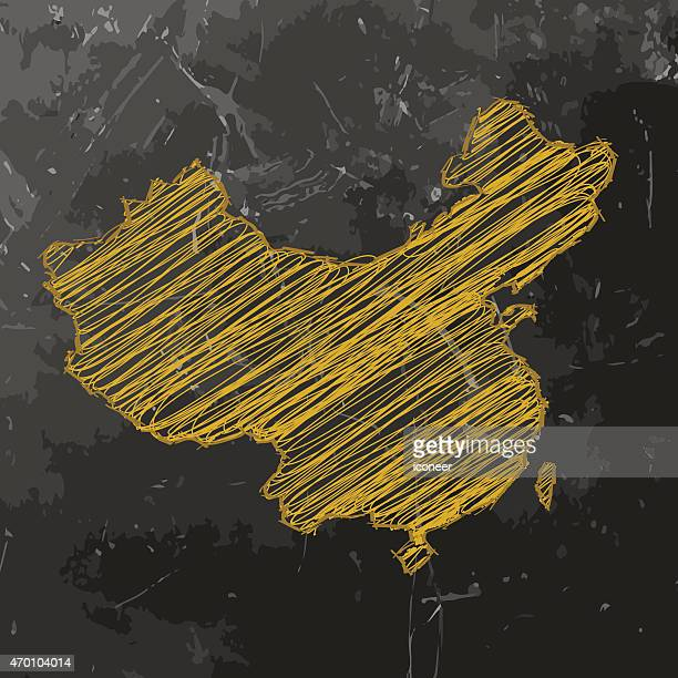 China map yellow sketched on dark chalkboard background