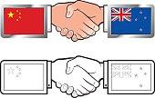 china & new zealand flags-hand shake