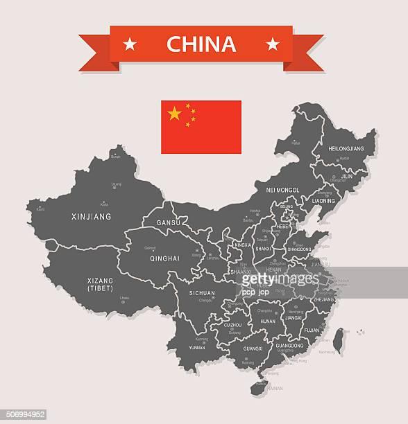 China - old-fashioned map - Illustration