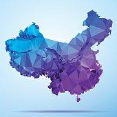 China Polygon Triangle Map Blue