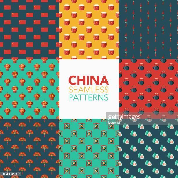 bildbanksillustrationer, clip art samt tecknat material och ikoner med kina sömlösa mönster uppsättning - kinesiska lyktfestivalen