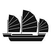 China ship icon, simple style