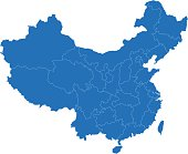 China simple blue map on white background
