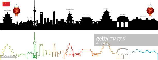 china skyline - pagoda stock illustrations, clip art, cartoons, & icons