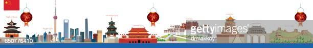ilustraciones, imágenes clip art, dibujos animados e iconos de stock de horizonte de china - granmurallachina