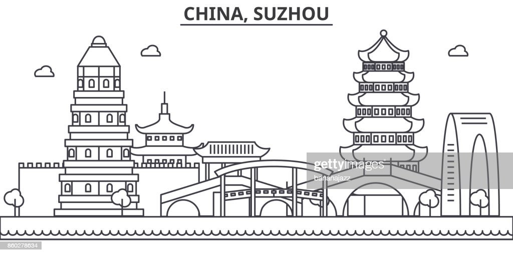 China, Suzhou architecture line skyline illustration. Linear vector cityscape with famous landmarks, city sights, design icons. Landscape wtih editable strokes