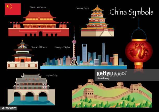 china symbols - temple of heaven stock illustrations