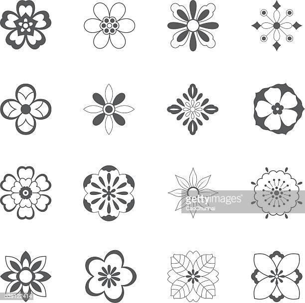 china traditionelle blumenmuster - blütenblatt stock-grafiken, -clipart, -cartoons und -symbole