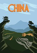 China travel poster. Chinese traditional landscape of rice fields. Vector