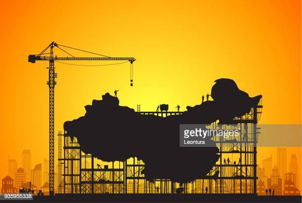 china under construction - foundation make up stock illustrations