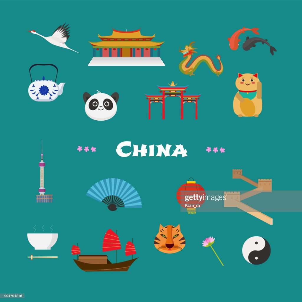 China vector illustration with Chinese famous landmarks, lantern, dragon, other objects