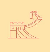 China Wall colored line Illustration