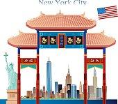 Chinatown gate and New York City