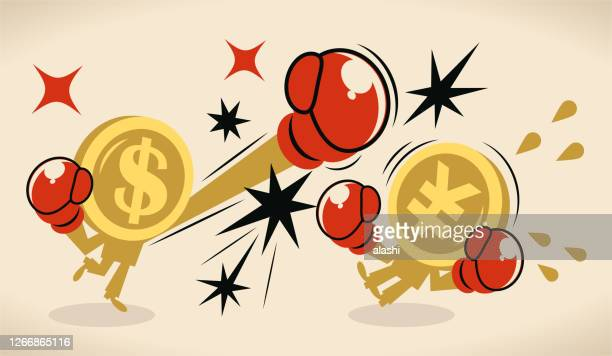 china–united states trade war; anthropomorphic us dollar coin is beating up the chinese yuan sign currency - boxing glove stock illustrations