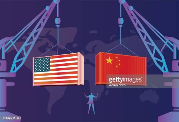 china-us trade, china-us relations, dock crane - trade war stock illustrations