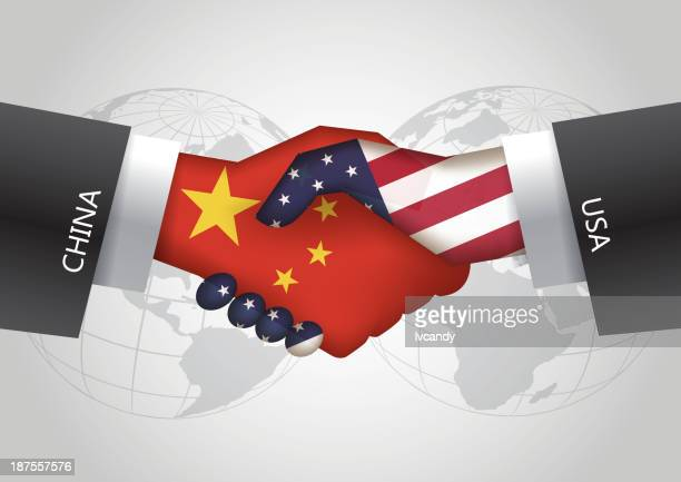 China-USA handshake