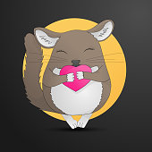 Chinchilla pet drawing. small animal, holding heart. Cute cartoon line art with details. Vector illustration