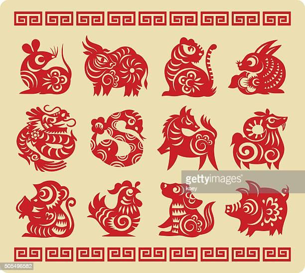 中国の 12 の干支の紙