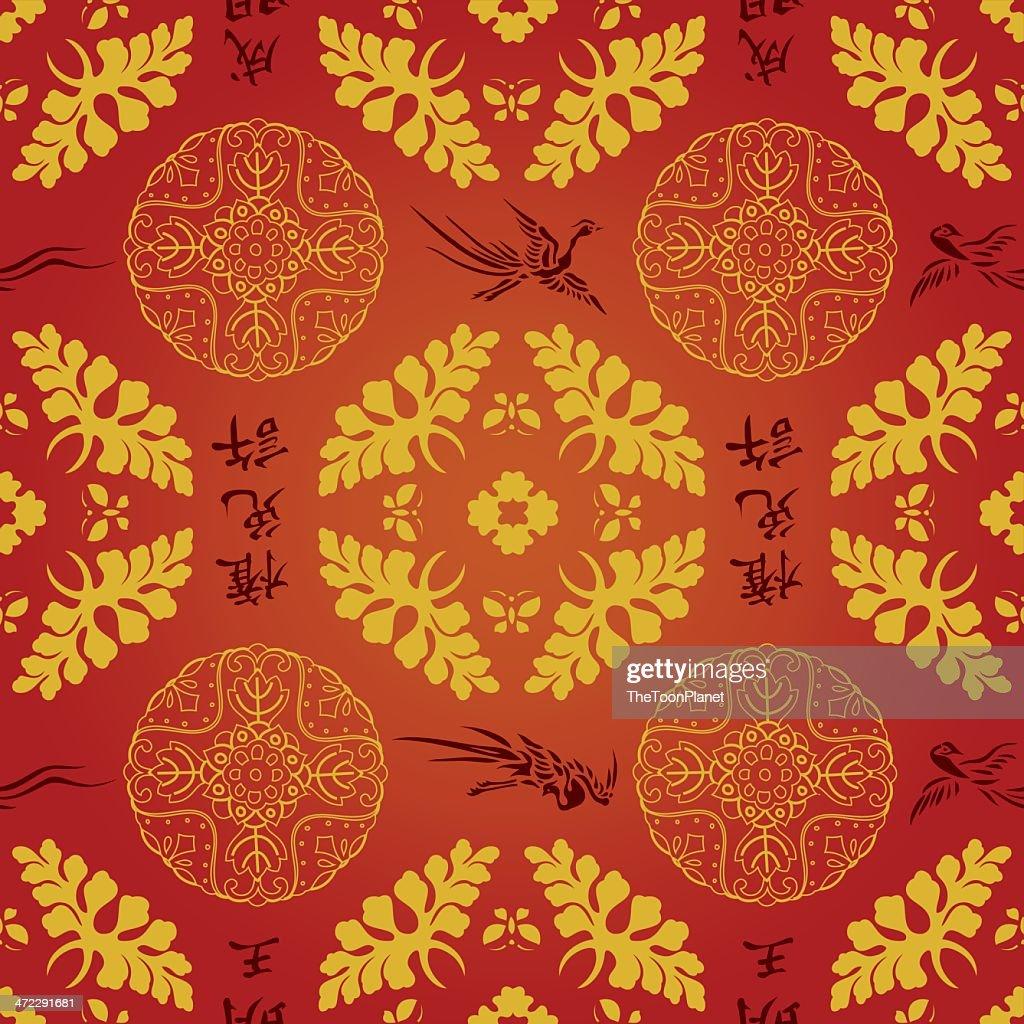 Chinese Amp Japanese Seamless Wallpaper Pattern Vector Background Illustration Art