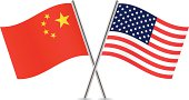 Chinese and American flags.